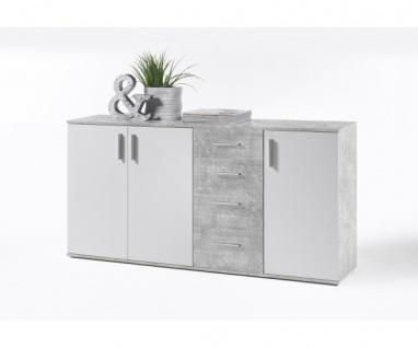36-103-D5 Bobby beton / weiss Kommode Beistellkommode Sideboard ca. 160 cm
