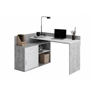 Schreibtisch Winkelschreibtisch Eckschreibtisch Home Office RUST Beton grau /...