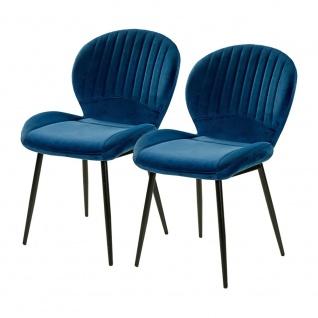 2er SET 6002490 Daisy Blau Samt Stuhl Vierfußstuhl Esszimmerstuhl Küchenstuhl...