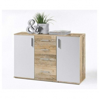 Kommode Beistellkommode Sideboard 36-105-V0 Bobby Old Style Eiche hell / weiß...