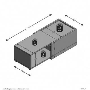 Couchtisch Beistelltisch ausziehbar ca. 126 x 38 x 50 cm SLIDE Weiß / Eiche S... - Vorschau 5