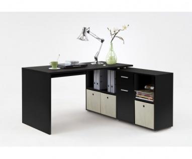 353-001 Lex SCHWARZ Schreibtisch Bürotisch Büro Winkelkombination FMD