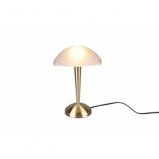 Tischleuchte Tischlampe Stehleuchte Lampe Pilz Messing matt weiß 1x E14, R592...