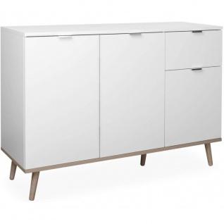 Kommode Sideboard Anrichte mit Massivholz 120 x 85 cm 002820 Weiß / Eiche Nb....