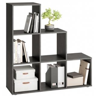 Stufen Regal Bücherregal Stauraumregal Raumteiler MEGA 1 Matera Grau