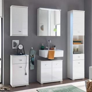 Badezimmer Set POOL Hochglanz Weiß inkl. Spiegelschrank mit LED Beleuchtung