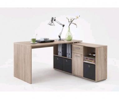 353-001 Lex Eiche Sägerau Dekor Schreibtisch Bürotisch Büro Winkelkombination