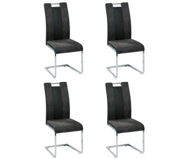 4er SET R5148-02 Bari 1 grau / schwarz Esszimmerstuhl Küchenstuhl Stuhl Schwi...