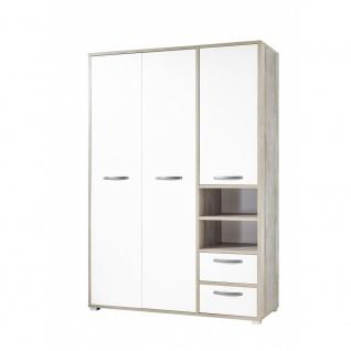 58-320-O4 MOON Driftwood Eiche Nb. / Weiß Kleiderschrank Drehtüren Stauraum J...
