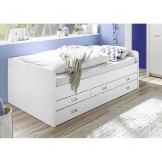 22-880-17 ALASKA Weiß 120 x 200 cm Bett Jugendbett Kinderbett Einzelbett Tand...