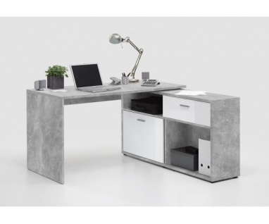 367-001 DIEGO Light Atelier Beton grau Nb./ Hochglanz weiß Schreibtisch Ecksc...