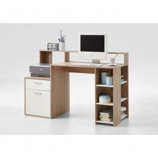 3006-001 BOLTON Eiche Sägerau / weiß Schreibtisch PC - Tisch Bürotisch Arbeit...