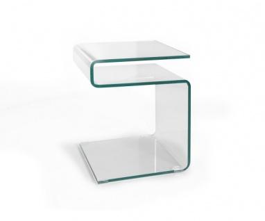 7/108-10 Susy Beistelltisch Glastisch Couchtisch S-Form gebogen Klarglas ca. ...