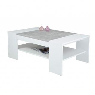 Couchtisch Beistelltisch Wohnzimmertisch 004639FSC OLIVER weiß / Beton grau Nb.