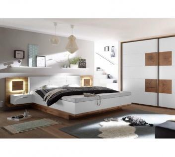 22-229-H2 CAPRI Wildeiche Nb. / weiß Bettanlage Doppelbett Ehebett mit Fussba...