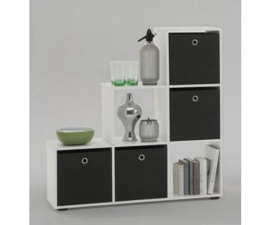 Mega 1 weiss inkl. 4 Körbe schwarz gratis Raumteiler Stufenregal Bücherregal ...