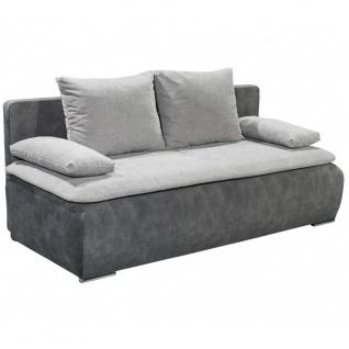 Schlafsofa Klappsofa Jugendsofa Couch inkl. Kissen ca. 208 cm breit JESSY Grau