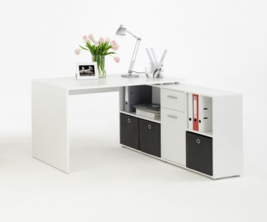 353-001 Lex weiss Schreibtisch Bürotisch Büro Winkelkombination - Vorschau 2