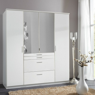 T12619 AACHEN Weiß Kleiderschrank Drehtüren mit Spiegel und Schubladen ca. 18...