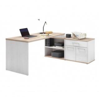 Schreibtisch Winkel Arbeitstisch Bürotisch ROMANCE Sibiu Lärche Weiß / SanRem...