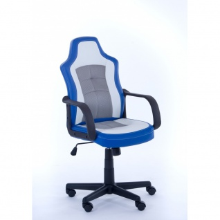 60260BW1 Blau / weiß Jacky Drehstuhl Kinderstuhl Chefsessel Bürostuhl