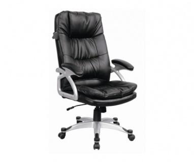 60510L1 Drehstuhl, Chefsessel Bürostuhl Oxfort Bonded Lederfaser schwarz
