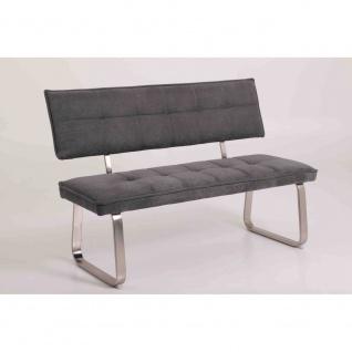920257 NENA I grau mit Rückenlehne Bank Sitzbank Esszimmer Speisezimmer ca. 1...