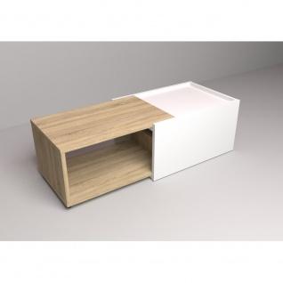 Couchtisch Beistelltisch ausziehbar ca. 126 x 38 x 50 cm SLIDE Weiß / Eiche S... - Vorschau 3