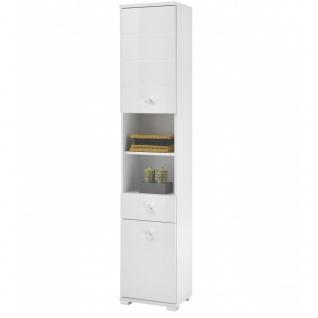 Bad Hochschrank Kommode Seitenschrank ca. 38 x 190 x 30 cm POOL Weiß Hochglanz