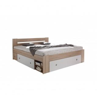 50-021-68 STEFAN Eiche Sonoma Sägerau / weiß Bett Jugendbett Kastenbett Einze...