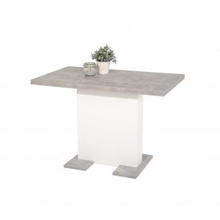 004551 BRITT T Weiß / Beton grau Tisch Esszimmertisch Küchentisch Beistelltis...