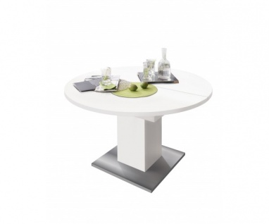 0588/120 Tisch rund weiss matt / Edelstahloptik Esszimmertisch Küchentisch Sp...
