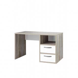 39-320-O4 MOON Eiche Driftwood Nb. / weiß matt Schreibtisch Arbeitstisch Büro...