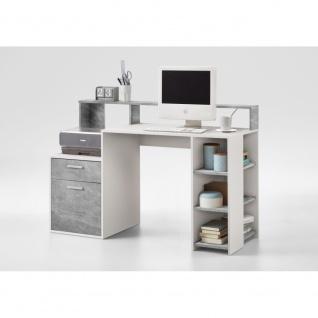 3006-001 BOLTON Beton grau Nb. / weiß Schreibtisch PC - Tisch Bürotisch Arbei...