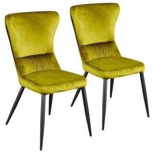 2er SET Esszimmerstuhl Relaxstuhl Küchenstuhl Samtstoff R5091-15 AGUAS grün gelb