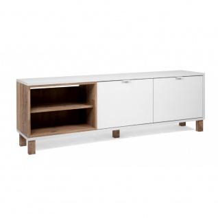 TV Board Lowboard Fernseher Kommode Sideboard ca. 149 cm MENORCA 56A Weiß / O...