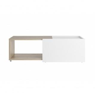 Couchtisch Beistelltisch ausziehbar ca. 126 x 38 x 50 cm SLIDE Weiß / Eiche S... - Vorschau 2