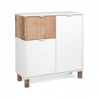Kommode Sideboard Stauraumschrank ca. 79 x 86 x 35 cm 003024 MENORCA Weiß / O...