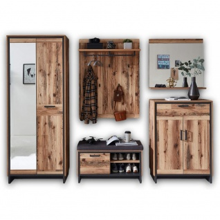 5tlg. Garderobe SET Diele Flur Wandgarderobe PRATO Altholz Alpine Lodge Nb. /...