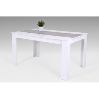 020227 LILO weiss / beton grau Tisch Küchentisch Speisezimmer Esstisch Vierfu...