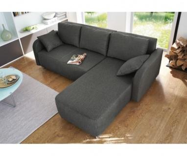 Couchgarnitur Sofa Wohzimmergarnitur Wohnlandschaft Loretta Webstoff anthrazit