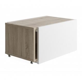 Couchtisch Beistelltisch ausziehbar ca. 126 x 38 x 50 cm SLIDE Weiß / Eiche S... - Vorschau 4