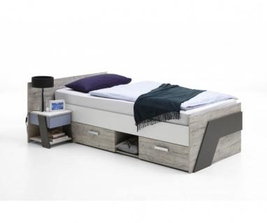 814-001 Nona 1 Sandeiche Nb. / farbig Bett Einzelbett Jugendbett Gästebett Ki...