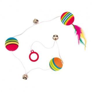 Trixie 3 Rainbow-Bälle am Gummiband mit Glöckchen