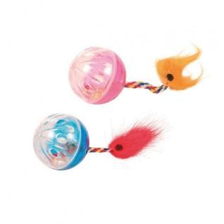 Trixie 2 Rasselbälle mit Spielschwanz - 4 cm