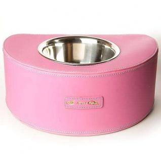 Designernapf Leder - Halbrund - Pink
