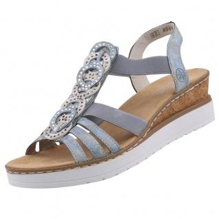 Rieker Damen Keil-Sandaletten Blau