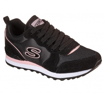 Skechers Damen Sneakers OG 85 STEP N FLY Schwarz/Rosa