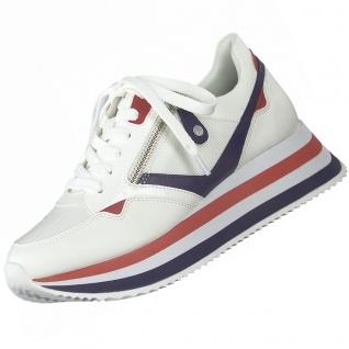 TAMARIS Damen Plateau Sneaker Weiß/Blau/Rot