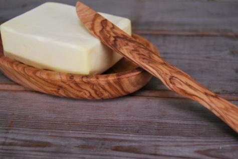 Set Butterschale aus Olivenholz inkl. Buttermesser, Olivenholz Schale Holzschale